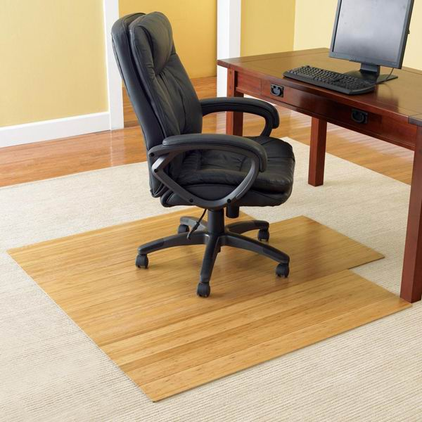 Bamboo Chair Mat Office Chairmat Rollup Computer Carpet - Computer chair mat for carpet