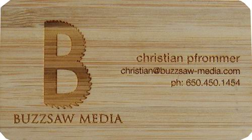 Bamboo Business Cards Custom Made Laser Carved
